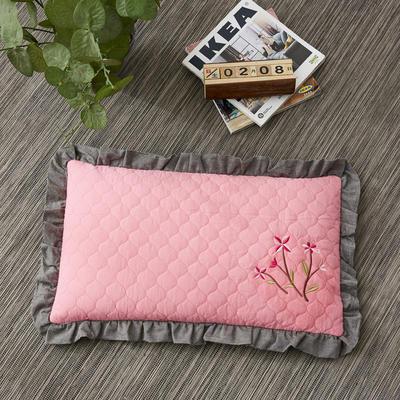 2019新款-全棉砂洗刺绣荞麦枕(30*50cm) 砂洗粉色