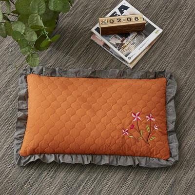 2019新款-全棉砂洗刺绣荞麦枕(30*50cm) 砂洗橘色