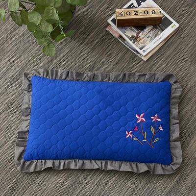 2019新款-全棉砂洗刺绣荞麦枕(30*50cm) 砂洗蓝色