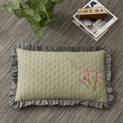 2019新款-全棉砂洗刺绣荞麦枕(30*50cm) 砂洗绿色