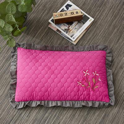 2019新款-全棉砂洗刺绣荞麦枕(30*50cm) 砂洗玫粉