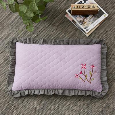 2019新款-全棉砂洗刺绣荞麦枕(30*50cm) 砂洗紫色