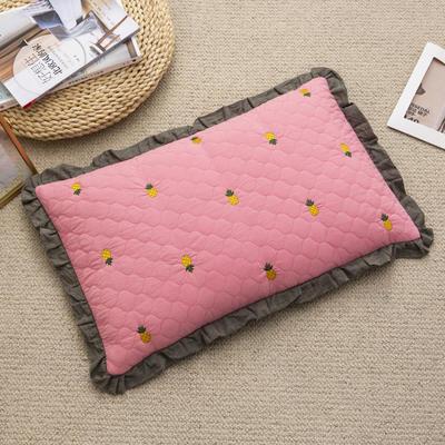 2019新款-全棉砂洗菠萝花荞麦枕35*55cm 菠萝-粉色