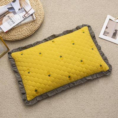 2019新款-全棉砂洗菠萝花荞麦枕35*55cm 菠萝-黄色