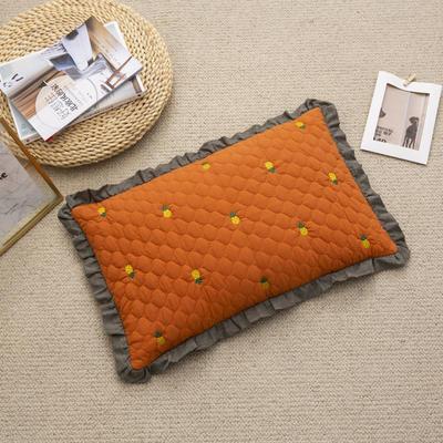 2019新款-全棉砂洗菠萝花荞麦枕35*55cm 菠萝-橘色