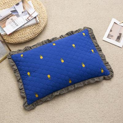 2019新款-全棉砂洗菠萝花荞麦枕35*55cm 菠萝-蓝色