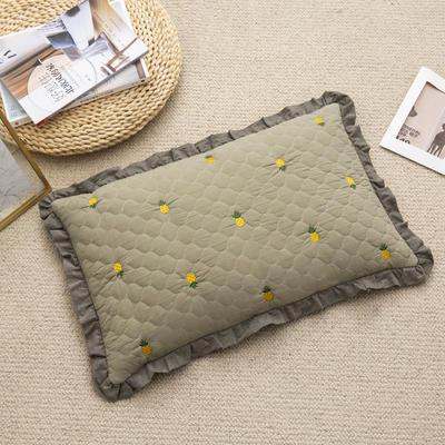 2019新款-全棉砂洗菠萝花荞麦枕35*55cm 菠萝-绿色