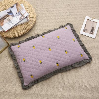 2019新款-全棉砂洗菠萝花荞麦枕35*55cm 菠萝-紫色