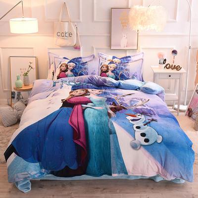 2019秋冬-正版授权迪士尼水晶绒四件套 床单款三件套1.0m床-1.35m床 冰雪闺蜜
