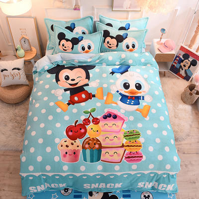 2019秋冬-正版授权迪士尼水晶绒四件套 床单款三件套1.0m床-1.35m床 美食派对