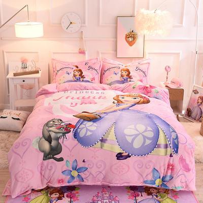 2019秋冬-正版授权迪士尼水晶绒四件套 床单款三件套1.0m床-1.35m床 梦幻花园
