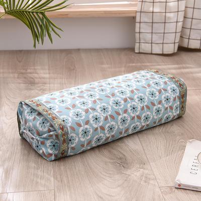 2021新款-全棉老粗布全荞麦壳枕头可调节枕 雏菊蓝调节枕