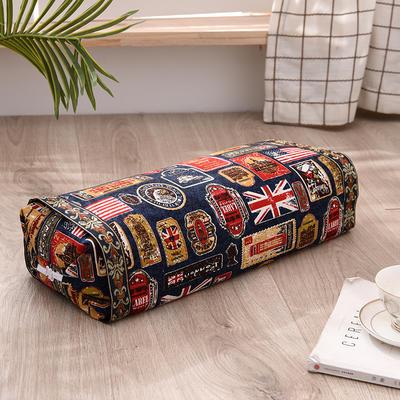 2021新款-全棉老粗布全荞麦壳枕头可调节枕 国旗蓝