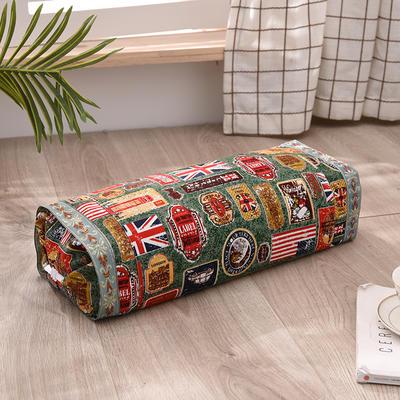 2021新款-全棉老粗布全荞麦壳枕头可调节枕 国旗绿