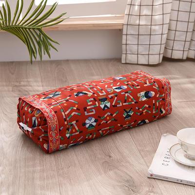 2021新款-全棉老粗布全荞麦壳枕头可调节枕 原元素红调节枕