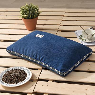 2021新款糖果色麻绒荞麦枕35*55cm 麻绒蓝色