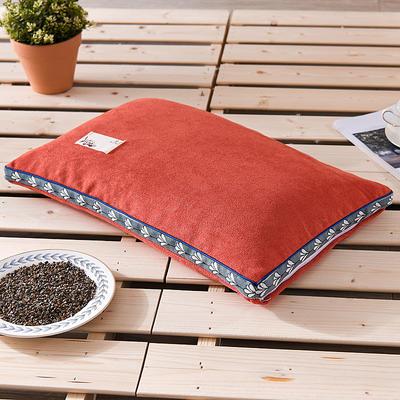 2021新款糖果色麻绒荞麦枕35*55cm 麻绒桔色