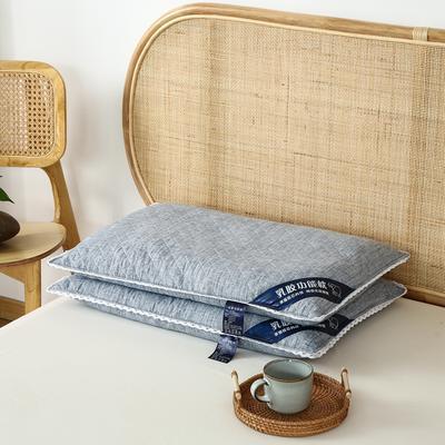 荞麦枕全棉乳胶荞麦壳枕头全荞麦壳助眠枕芯2021年新款 乳胶荞麦枕蓝色