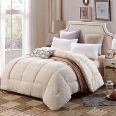 羊羔绒冬被 法莱绒被子 保暖被芯 150*200cm 米白