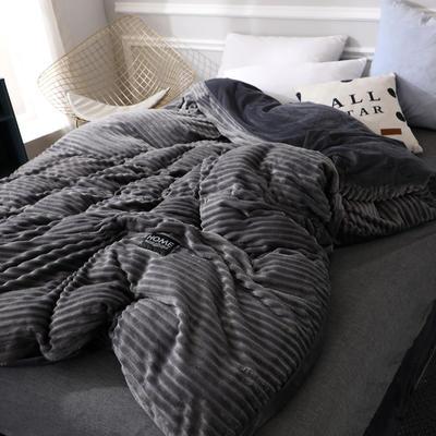 (总)魔法绒拆卸款冬被水晶绒单被套法莱绒被子保暖被芯可拆洗 150x200cm(单被套) 深邃黑
