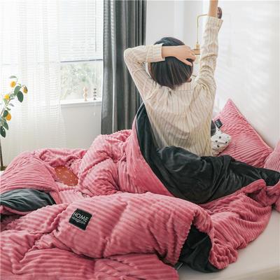 (总)魔法绒拆卸款冬被水晶绒单被套法莱绒被子保暖被芯可拆洗 150x200cm(单被套) 豆沙红