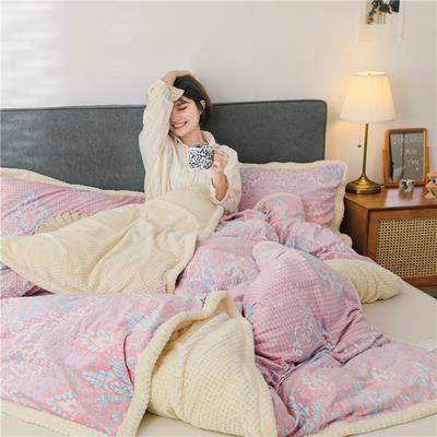 (总)多功能被套毯6D雕花绒可脱卸拆洗被子贝贝绒冬被保暖被芯 150x200cm(单被套) 菲欧娜