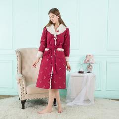 刺绣樱桃同款睡袍 L 刺绣樱桃女士睡袍(红)