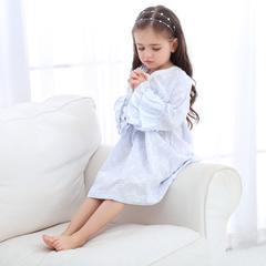 泡花V领裙3色(儿童) S 蓝色