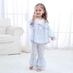 泡花V领套装3色(儿童) M 蓝色