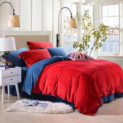 宝宝绒纽扣款双拼保暖四件套 标准(1.5m-1.8m床) 红宝蓝