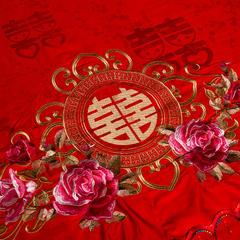 兰曼笛家纺婚庆经刺绣蚕丝被 200X230 6斤 双喜临门(大红)