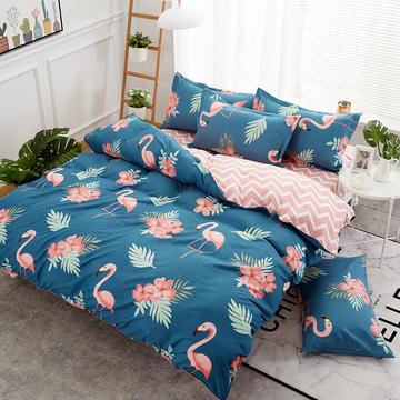 植物羊绒加厚磨毛仿棉四件套 1.2m床三件套 爱妻鸟 青