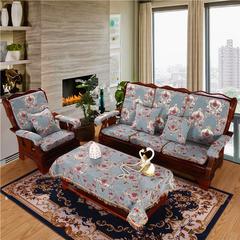 2018新款-雪儿尼提花中式沙发垫(风格二) 扶手/片 宠柳娇花-兰