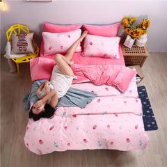 2018新款-水晶绒四件套 1.2m(4英尺)床 草莓