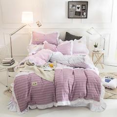 宝佳瑞  韩版水洗棉花边四件套 2.0m床四件套 选择-粉