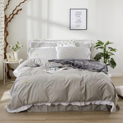 2019新款水洗水晶绒棉绒四件套 标准1.5m-1.8m床 简单生活-灰