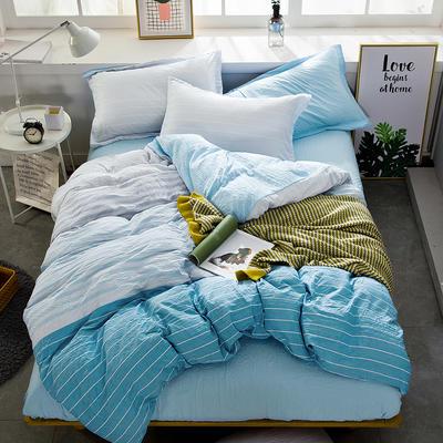 2019新款水洗棉普通款四件套 1.2m(4英尺)床 选择蓝