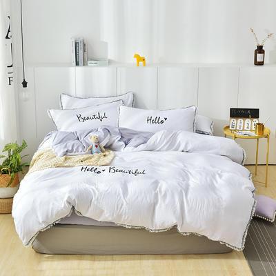 2019新款韩版毛边水洗棉四件套 1.2m(4英尺)床 灰色