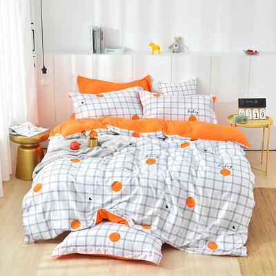 2019新款水洗棉普通款四件套 1.2m(4英尺)床 甜橙