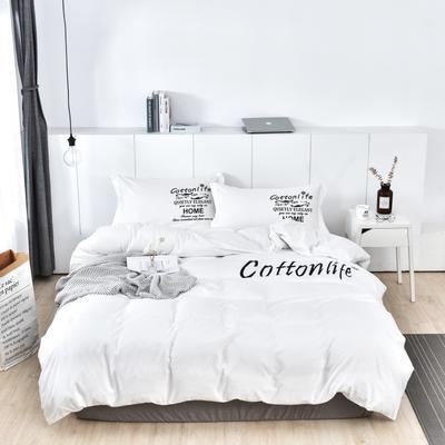 2019新款水洗棉四件套 1.5m(5英尺)床 白色