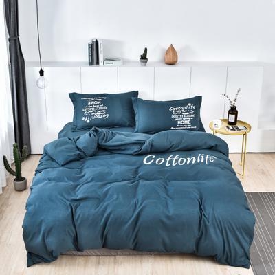 2019新款水洗棉四件套 1.8m(6英尺)床 浅蓝