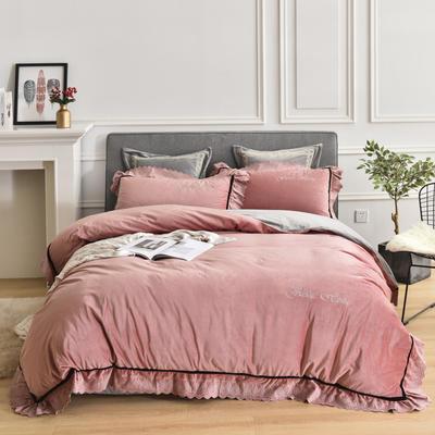 2019新款华肤绒四件套 1.5m床单款 爱丽莎-粉色