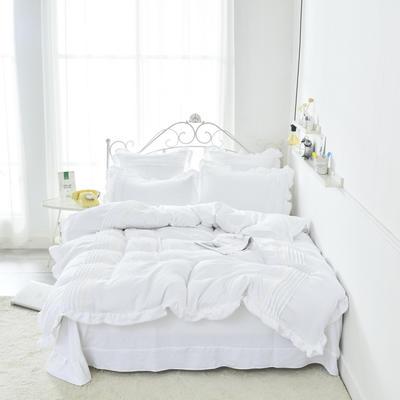 2019新款韩版水洗棉花边四件套-爱丽丝 1.2m床单款三件套 爱丽丝-白