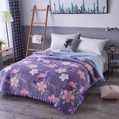 韩式花边水晶绒多功能床盖(绗缝新花型) 2米*2.3米 火烈鸟 紫