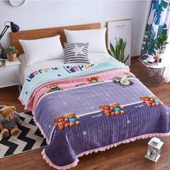 韩式花边水晶绒多功能床盖(绗缝新花型) 2米*2.3米 小熊