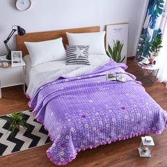 韩式花边水晶绒多功能床盖(绗缝新花型) 2米*2.3米 一帘幽梦 紫