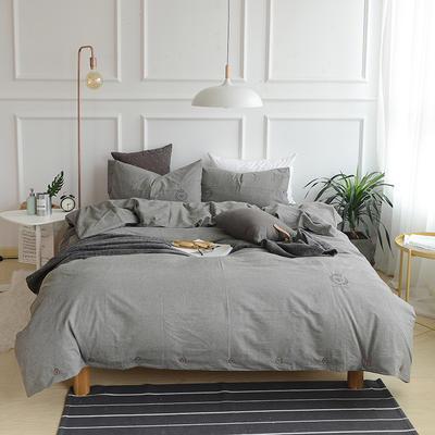 纯色色织水洗棉四件套 标准(1.5m-1.8m床) 优雅灰
