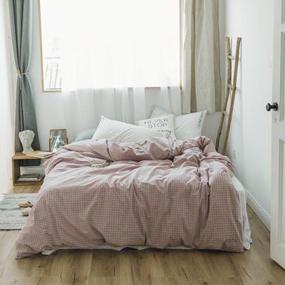 2018混搭风格子刺绣(高清图)四件套 1.8m(6英尺)床 粉+白