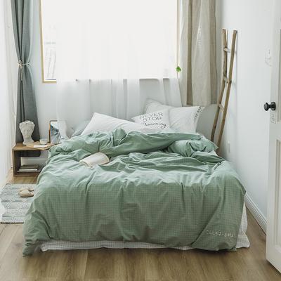 2018混搭风格子刺绣(高清图)四件套 1.8m(6英尺)床 绿+白