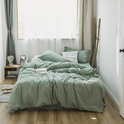 2018混搭风格子刺绣(高清图)四件套 1.8m(6英尺)床 绿+绿